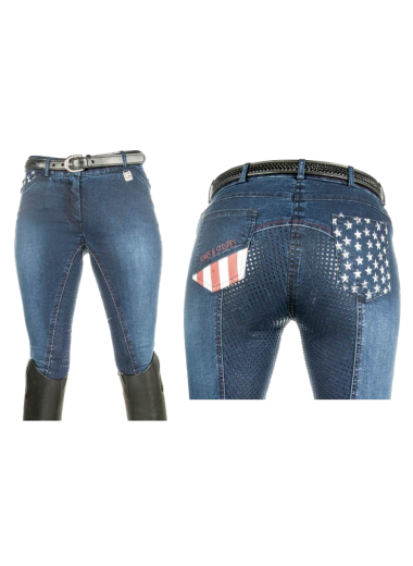 "Bryczesy HKM "" Stars & Stripes"" Denim 36"