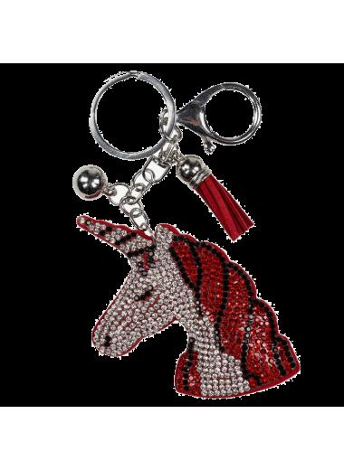 Horze Breloczek do kluczy głowa czerwona
