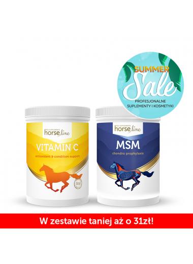 HorseLinePRO zestaw MSM 1300g +Vitamin C 1000g