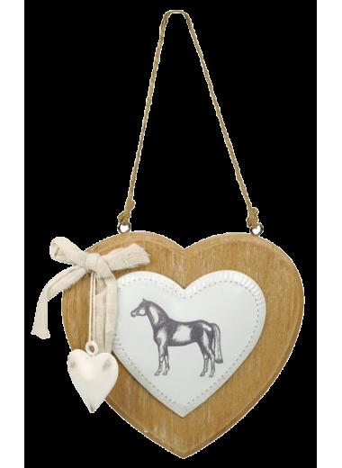 HR Ozdoba białe serce z koniem